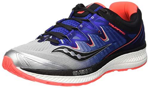 Saucony Triumph ISO 4, Zapatillas de Running para Hombre, (Silver/Blue/Vizi Red 35), 47 EU