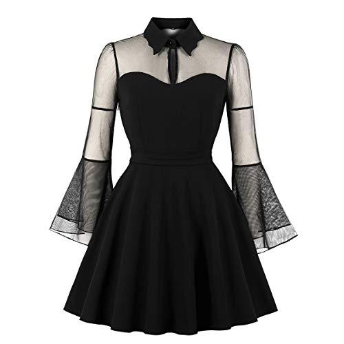 CMKEJI Frauen Halloween Black Queen Mesh Trompete Ärmel Vintage-Kleid(M)