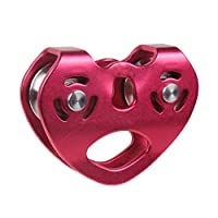 YANWE Double Trolley Pulley,Cable Trolley Pulley with Ball Bearing for Rock Climbing Caving Aloft Work Rescue 30KN / 6500lbs,Red
