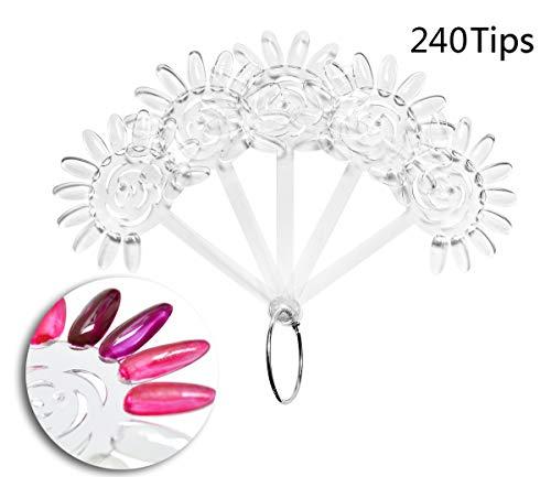 240 Tipps Transparent Nail Art Tipps Nagellack Swatch Sticks für Display und Praxis (Nagellack Der Praxis)