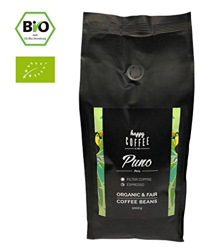 HAPPY COFFEE Puno Espresso Bohnen - Frisch geröstet - ganze Bohne - Premium Bio-Kaffee aus Peru...