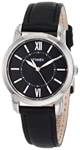 Timex Women's Quartz Watch with Black Dial Analogue Display and Black Leather Strap T2N681