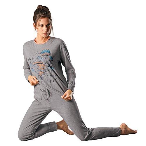 hajo Schlafanzug mit Druckmotiv Oberteil Single-Jersey Grau