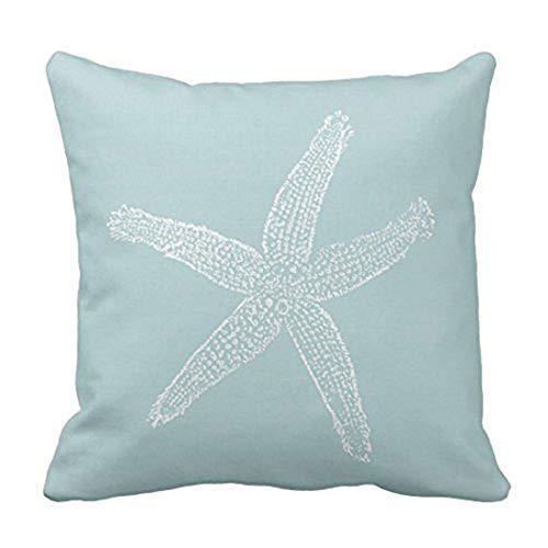 ssenbezug Grün Dekorative Fische Star Vintage Seestern Pastell Seafoam Blau Kissen Fall Home Decor Kissenbezug, Baumwolle, Orange, 20 X 20 inch ()