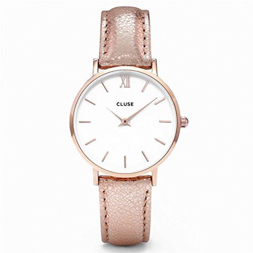 CLUSE-CL30038-Minuit-Rose-Gold-WhiteRose-Gold-Metallic-Uhr-Damenuhr-Lederarmband-vergoldet-3-bar-Analog-rose