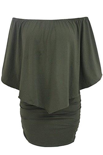 EOZY Robe Femme Moulant Décolleté Soirée Grand Taille Volant Vert
