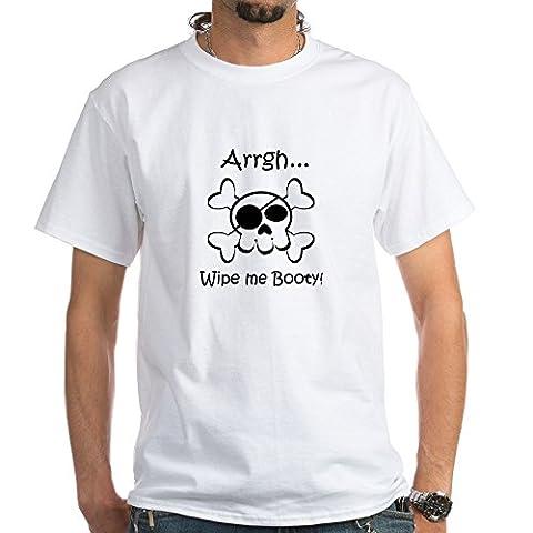 CafePress - Skull Pirate Wipe Me Booty - 100% Cotton T-Shirt