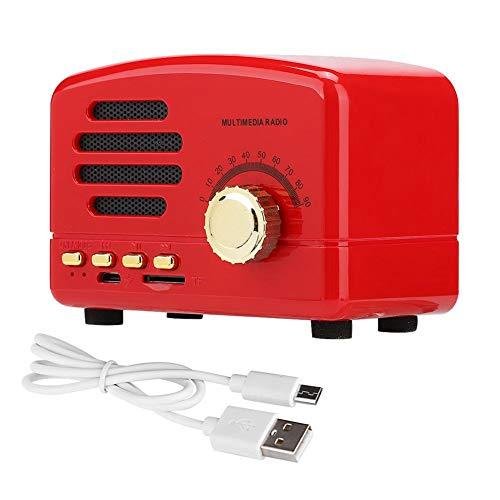 Denash Altavoz estéreo inalámbrico de Madera Bluetooth inalámbrico portátil + Radio FM Compatible con Tarjeta USB/TF con micrófono(Red)