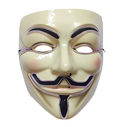 LANDUM Halloween-Vendetta-LED-Maske, Leuchtendes Cosplay-Kostüm, Partyzubehör, Plastik, weiß, 22cmx17cm