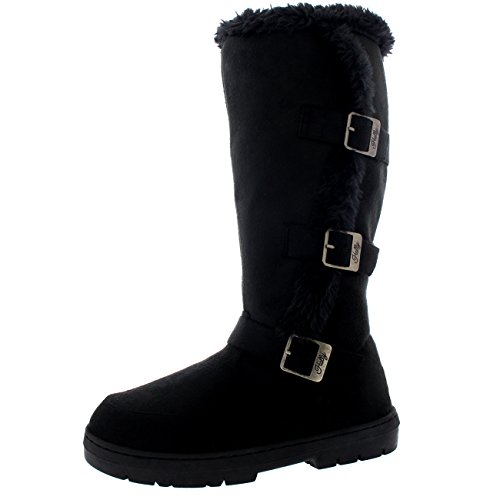 Holly Damen Hoch Three Buckle Pelz Gefüttert Wasserdicht Winter Regen Schnee Sitefel - Schwarz - UK5/EU38 - BA0470 (Schnee Stiefel Winter)