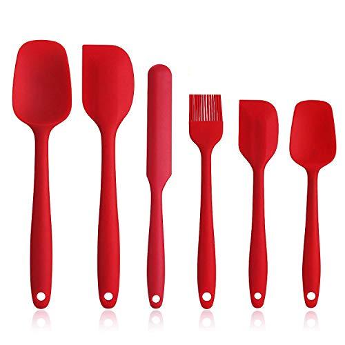 EKKONG Spatule Silicone de Cuisine Set de 6 Spatule en Silicone Résistant à la Chaleur pour Cuisiner Spatule Pâtisserie, Cuillère Spatule, Anti-adhé, sans BPA