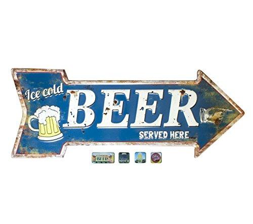 Magnettafel Magnetpinnwand Bier als Pfeil im Retro-Stil mit Magneten zum Hängen (Bier-pfeil)