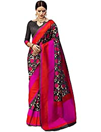 Saree Mall Women's Silk Saree With Blouse Piece (Kny32007_Black)