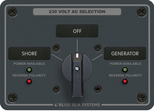 Blue Sea Systems AC Rotary Switch Panel 30 Ampere 2 Positionen + Off, 2 Pole Ac Rotary Switch Panel