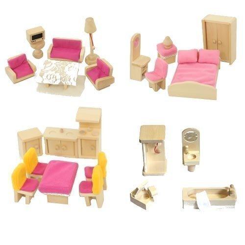 Freda rosé Puppenmöbel Möbelset 28 Teile + Hussen Bezüge Kissen für Puppenhaus Freda
