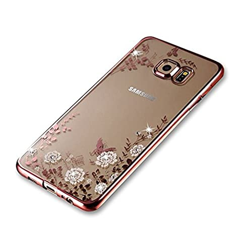 For Samsung Galaxy S6 Case [with Free Screen Protector], Funyye Bling Sparkle Rhinestone (Rose Gold) Electroplate Plating Frame Crystal Soft Gel Silicone TPU Case Cover (White Flower) Design for Samsung Galaxy