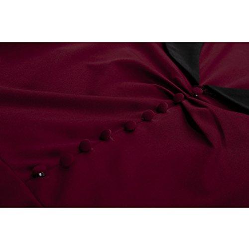 Partiss - Robe - Plissée - Femme Rouge bordeaux/blanc