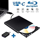 Tokenhigh Lettore Masterizzatore Dvd Blu Ray 3D, Blu Ray unità CD/Dvd Esterna, USB 3.0 Type C Esterno Portatile Ultra Sottile CD Dvd RW Lettore Disco per Laptop/Desktop MacBook, Win 7/8/10