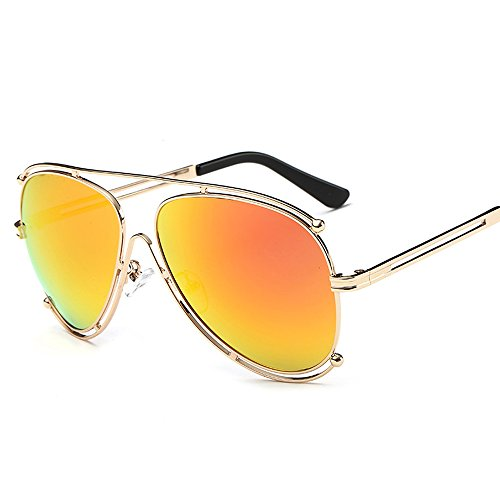 Kennifer Unisex Premium Full Mirrored Aviator Sonnenbrille Mode Damen Herren Brillen Sport Fahren Angeln Einkaufen Damen Eyewear mit Flash Spiegel Objektiv, UV400 Schutz (Orange, Gold)