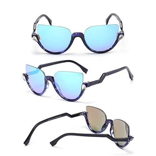 Yiph-Sunglass Sonnenbrillen Mode Classic Lady Sonnenbrillen for das Fahren von Sonnenbrillen for Frauen Semi-Rimless Sonnenbrillen (Farbe : Bean Flower Frame Blue Piece)