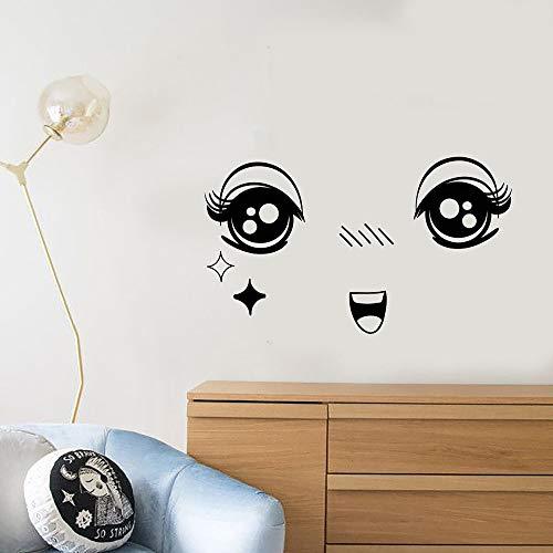 guijiumai Cartoon Anime Gesicht Muster Vinyl Wandtattoo Aufkleber Wohnkultur Wohnzimmer Schlafzimmer Schöne Kunst Aufkleber Tapete Kinderzimmer rot 88x57 cm