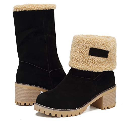 Vuticly Womens Winter Snow Boots Round Toe Suede Chunky mid Heel Faux Fur Warm Ankle Booties