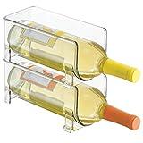 MetroDecor mDesign 2er-Set Flaschenregal – stapelbare Aufbewahrung für Weinflaschen und andere Getränke – modernes Weinregal aus Kunststoff für 2 Flaschen – transparent