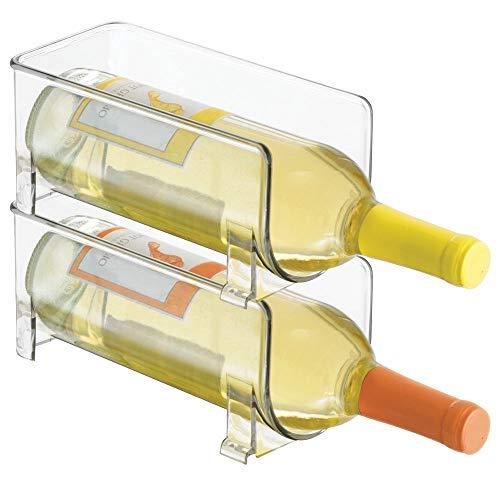 mDesign 2er-Set Flaschenregal - stapelbare Aufbewahrung für Weinflaschen und andere Getränke - modernes Weinregal aus Kunststoff für 2 Flaschen - transparent