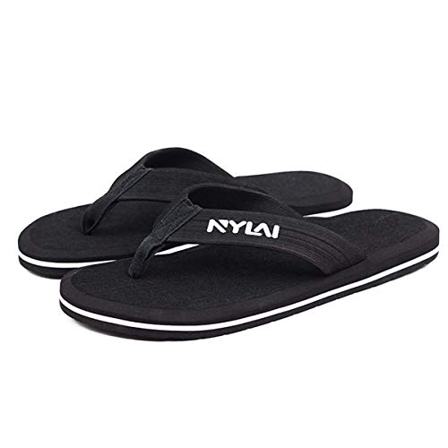 Non-Slip Rubber Men Women Slippers Beach Flip Flops Sweat Absorption Summer Indoor Home House Sandals Shoes Plus Size 49 all Black 38