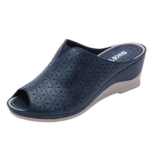 ➤Refill ➤Frauen hohlen offenen Zehen Sandalen Slingback Sandalen, Sandalen mit Keilabsatz, Plateausandalen, Freizeitschuhe, Outdoor Indoor Slipper Flip-Flops -
