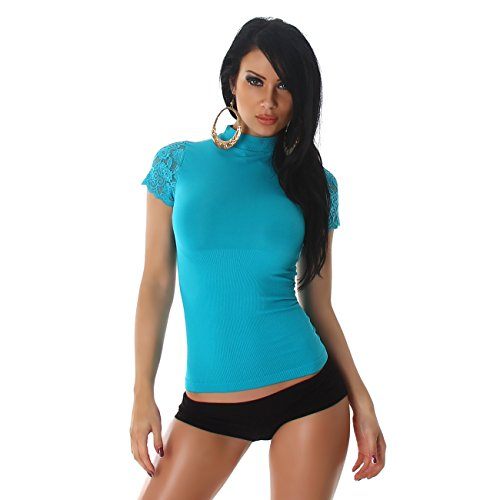 PF-Fashion Damen Shirt Top T-Shirt Spitze Necktop Blumen Spitzenshirt Kurzarm Trendy Design Türkis