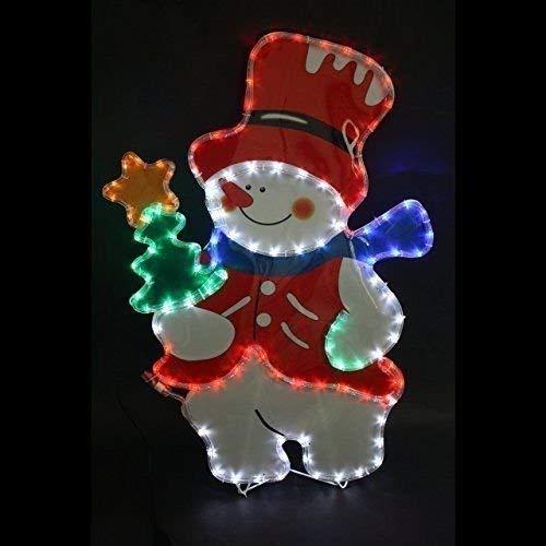 Garden Mile groß Schneemann Multifunktional Seil Licht Silhouette BELEUCHTET mit Multifarben LED Lampen wasserfest innen oder aussen Weihnachtsdekoration Lichterkette 60cm