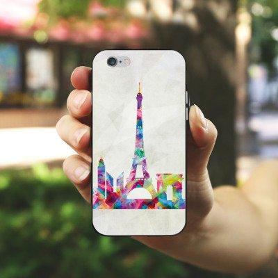 Apple iPhone 5s Housse Étui Protection Coque Paris Tour Eiffel France Housse en silicone noir / blanc
