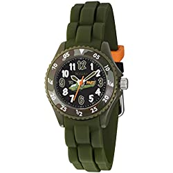 Tikkers Boy's Camouflage Helicopter Design Olive Green Rubber Silicone Strap Time Teacher watch - NTK0010