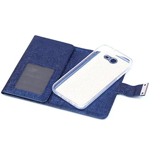 Cross Lines Texture Dreifach Typ PU Leder Brieftasche Case mit freistehenden TPU Back Cover Card Slots für Samsung Galaxy J3 2017 ( Color : Blue ) Blue