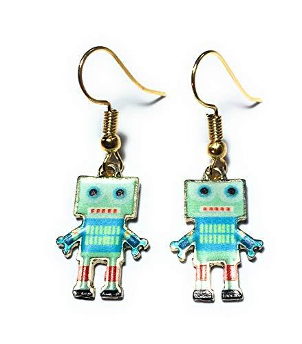 FizzyButton Gifts Roboterart 3 Tropfen Ohrringe - vergoldet Ohrhaken mit aufgedrucktem Emaille Roboter geformt Anhänger, mit türkisfarbenen Geschenkkarton