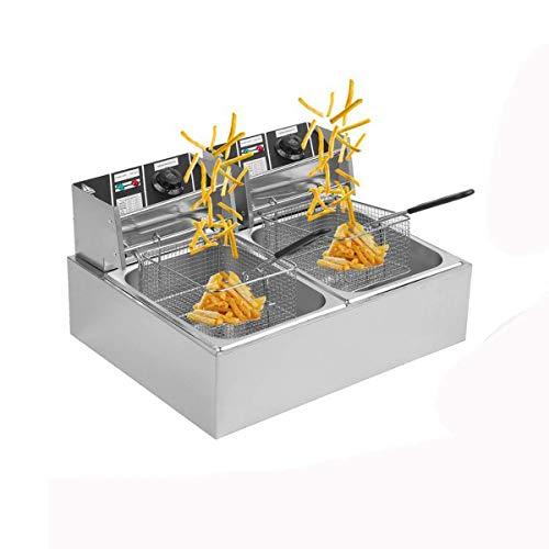 Hehilark Friggitrice Friggitrici Professionale in acciaio inox 10 litri di capacità, 2500 W di potenza per Pollo, Gamberetti, Patatine Fritte (20 Liter)