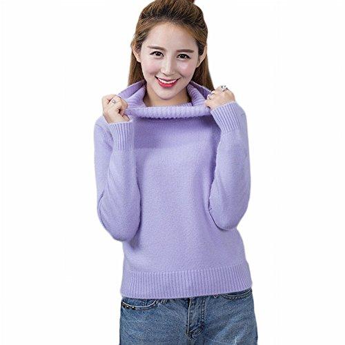 Good dress Kaschmirpullover Dicken Pullover Frauen Kurze Hoch- Strickpullover Reine Farbe Mode Primer Shirt , helles Lila , XL