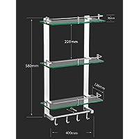 XQY Mensola del bagno della cucina di alta qualità, spazio Mensola di vetro a tre strati di alluminio con asta Rack di stoccaggio Mensola di vetro del bagno Hardware pendente Garantire la qualità, po