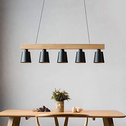 ZMH Pendelleuchte Hängeleuchte esstisch 5-Flammig Pendellampe Holz und Metall Hängeleuchte retro E27 Leuchtmittel für Esszimmer