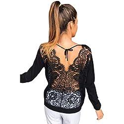 SHOBDW Mujeres de Manga Larga sólido sin Espalda O-Cuello de Encaje Sexy Sudadera Pullover Tops Blusa de otoño Camisa(Negro,M)