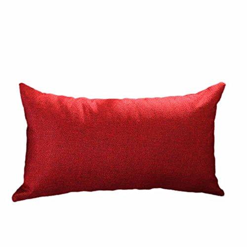 VJGOAL Casual Color sólido Suave Lino algodón Funda de Almohada Rectángulo extraíble...