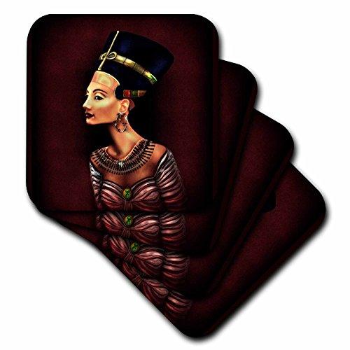 3dRose Dream Essence Designs Vertikal–Ein Porträt der Nofretete inspiriert von die alten ägyptischen Artefakt.–Untersetzer, Keramik, set-of-8-Ceramic (Set Ägyptische)