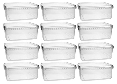 Kunststoffdose 12x 1,15 Liter Plastikdose mit Deckel , BPA-frei, lebensmittelecht inkl. 1 Schaufel