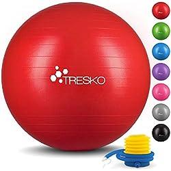 TRESKO® Pelota de Gimnasia Anti-Reventones   Bola de Yoga Pilates y Ejercicio   Balón para Sentarse   Balon de Ejercicio para Fitness   300 kg   con Bomba de Aire   Rojo   75cm