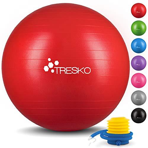 TRESKO® Anti-Burst Gymnastikball 55cm 65cm 75cm 85cm | Sitzball | Yogaball | 300 kg | mit Luftpumpe (Rot, 65cm (geeignet für 155-175cm))