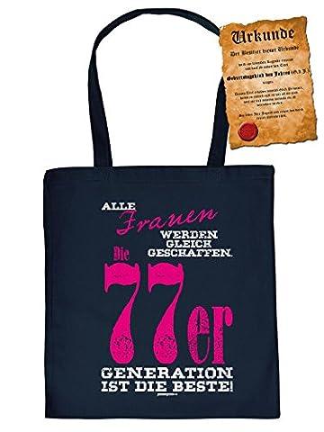 Geschenk 40.Geburtstag - coole Geschenktasche 40 : Alle Frauen .. 77er Generation ist die Beste - Baumwolltasche + Urkunde -- Farbe: Navyblau
