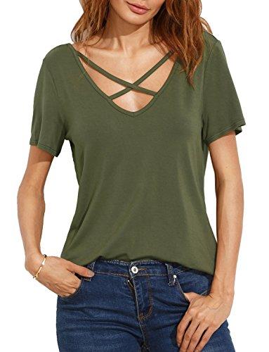 Suimiki Damen Sommer Kurzarm T-Shirt V-Ausschnitt mit Schnürung Vorne Oberteil Tops Bluse Shirt-AGXL