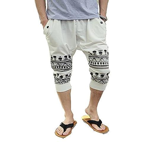 Minetom Herren Jungen Hippie Haremshose Jogginghose Tanz Trainingshose Freizeit Skinny Hose ( Beige EU XL )