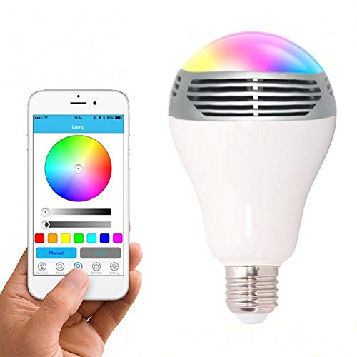 Smart Bulb RGB Color Dimmable, Remote Control Bluetooth Smart LED Light Bulb Lampe Lamp mit Speaker Music Player für. -